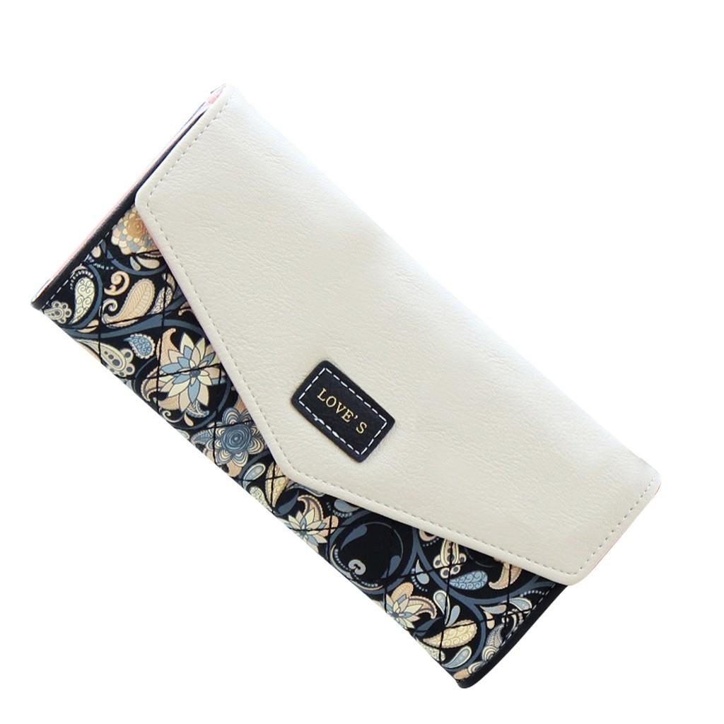 Floral Women Leather  Wallets Fold Over Purses Flower Beg Bag