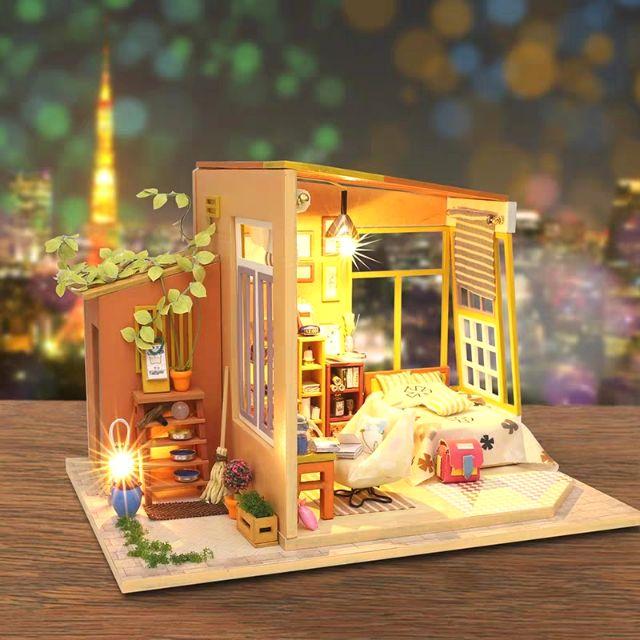 Mô hình nhà gỗ búp bê Dollhouse DIY – Kèm mica – S003 Together
