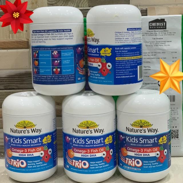 Viên nhai Kids Smart Omega 3 Fish Oil High DHA TRiO Nature's Way 180viên
