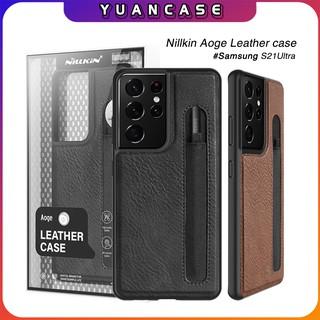 Ốp lưng Nillkin da cho Samsung S21 Ultra Aoge Leather Case , có khe để bút S-Pen – Hàng nhập khẩu