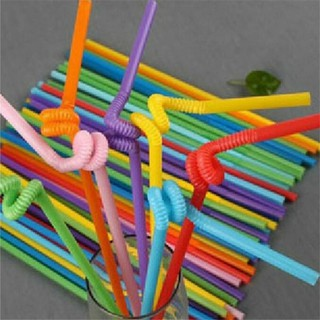 túi/ gói 60 ống hút nhiều màu xoắn nghệ thuật