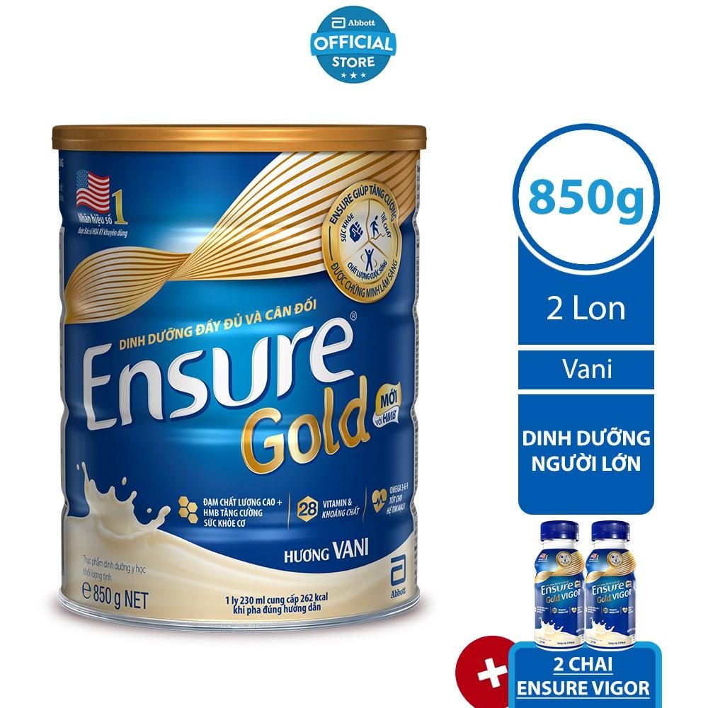 [Nhập ABBOTT40K giảm 40K] [Tặng 02 Chai Ensure Vigor 237ml] Bộ 02 lon Ensure Gold Vani (HMB) 850g/lon