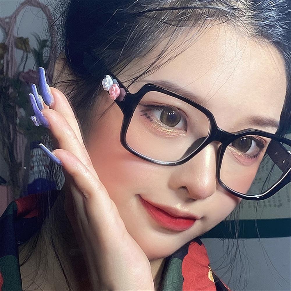 EMILEE💋 Women Flowers Eyeglasses Computer Eye Protection Anti-Blue Light Glasses Portable Oversized Fashion Square Vintage Ultra Light Frame