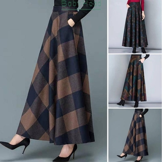 Ladies Women Skirt Plus size Casual Maxi Pleated Ladies Retro Women Evening Party Winter Autumn High waist Elastic Swing