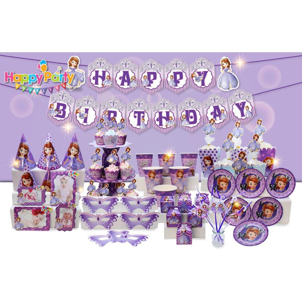 Phụ kiện trang trí sinh nhật Công chúa Sofia bộ lớn đầy đủ