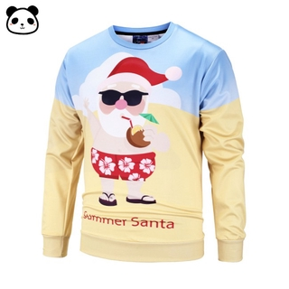 COD Autumn Winter Large Size Round Collar Loose Sweater Craetive Holiday Santa Claus Printing Sweater