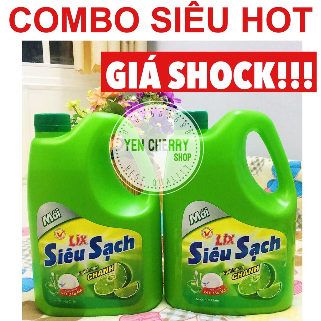 Combo 2 Can Nước rửa chén LIX siêu sạch hương trà xanh 1,5kg