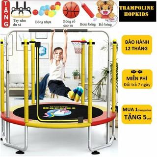 Trampoline Hopkids nhà bóng thảm nhún có xà đơn thể thao tăng chiều cao cho bé, lưới bảo vệ, rộng 1,5m tải trọng 250kg