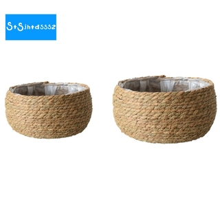 Woven Storage Basket Floor Flower Pot Crafts Decor Home Living Room Shop Flower Basket Small Desktop Pot, 2PCS