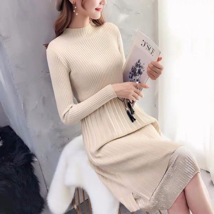 đầm sweater dệt kim tay dài thời trang mùa đông cho phái nữ - 21971216 , 6000647704 , 322_6000647704 , 331200 , dam-sweater-det-kim-tay-dai-thoi-trang-mua-dong-cho-phai-nu-322_6000647704 , shopee.vn , đầm sweater dệt kim tay dài thời trang mùa đông cho phái nữ