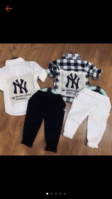 Sét bộ áo NY hot hit quần kaki đẹp cho bé ( không kèm đai )