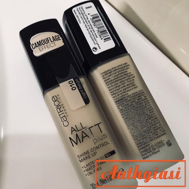 Kem nền kiềm dầu Catrice All Matt Plus 18h mỏng mịn tự nhiên