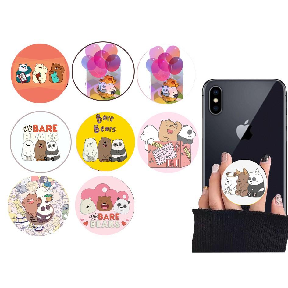 Giá đỡ điện thoại ba anh em gấu dẹt in hình IR7 đỡ điện thoại tròn