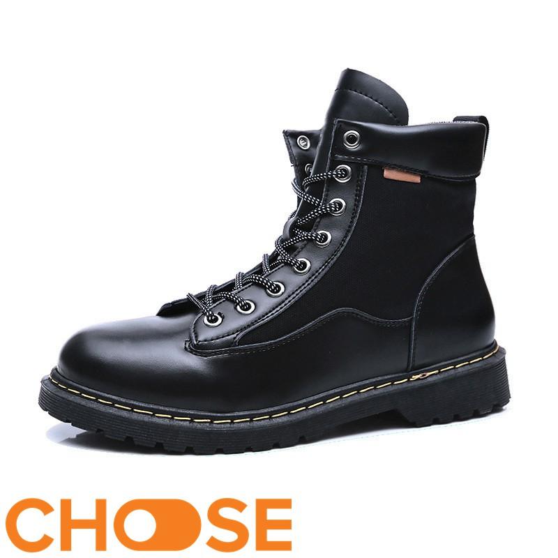 Giày Nam Boot Nam Cổ Cao Choose Màu Trơn Bụi Bặm G2616