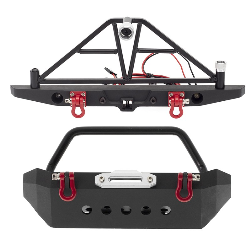 Metal Front Rear Bumper with LED Light Set for 1/10 RC Crawler Axial SCX10 & SCX10 III AXI03007 Traxxas TRX4 Redcat