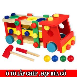 [Followshop] Đồ Chơi Ô tô gỗ lắp ghép kết hợp đập bóng an toàn, phát triển kỹ năng cho bé 2-6 tuổi – TG31