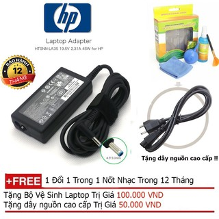 SẠC LAPTOP HP envy 19.5V-2.31A Chân kim nhỏ + Tặng dây nguồn dài 1.8m, bộ vệ sinh laptop