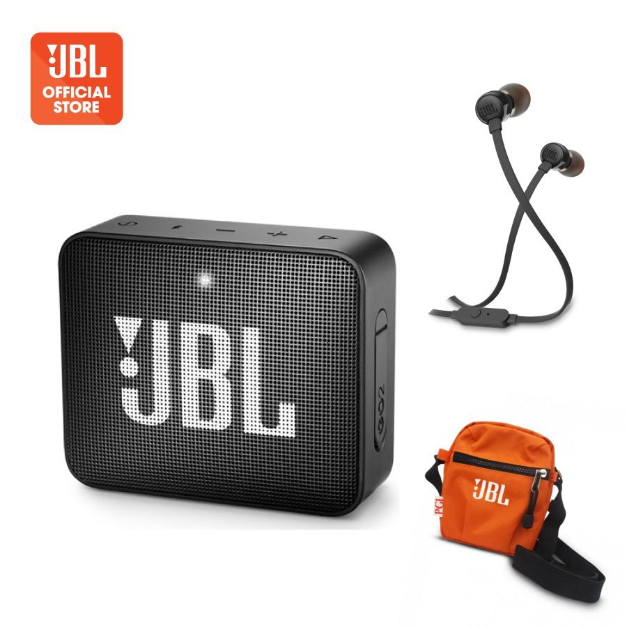 Combo Loa Bluetooth JBL Go2 và Tai nghe JBL T110 + Túi đeo thời trang JBL-  Hàng Chính Hãng