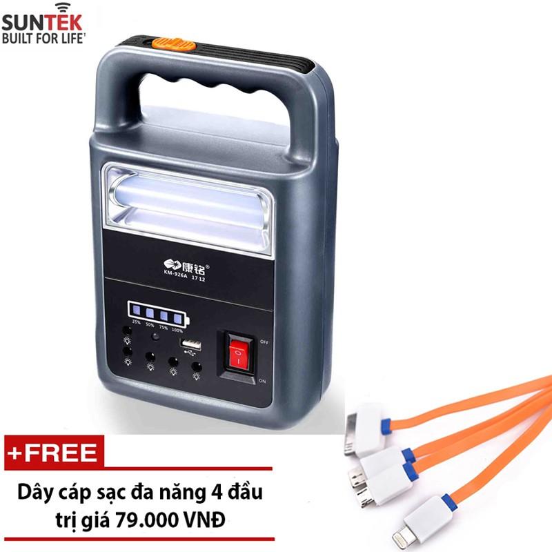 Đèn LED tích điện chuyên dụng kiêm ắc quy sạc dự phòng SUNTEK KM-926A + Tặng cáp sạc đa nă
