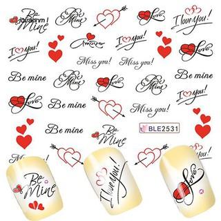 [Hàng mới về] Miếng dán trang trí móng tay xinh xắn hình trái tim và chữ thumbnail