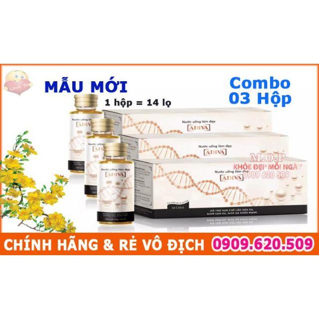 (CHÍNH HÃNG) Combo 03 Hộp Collagen Adiva dạng nước mẫu mới (14 lọ/ hộp)