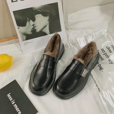 Giày da nữ retro kiểu Anh - giày nữ thu đông - giày nhung dày - giày đế thấp- giày đế bằng lót lông thú hoang dã