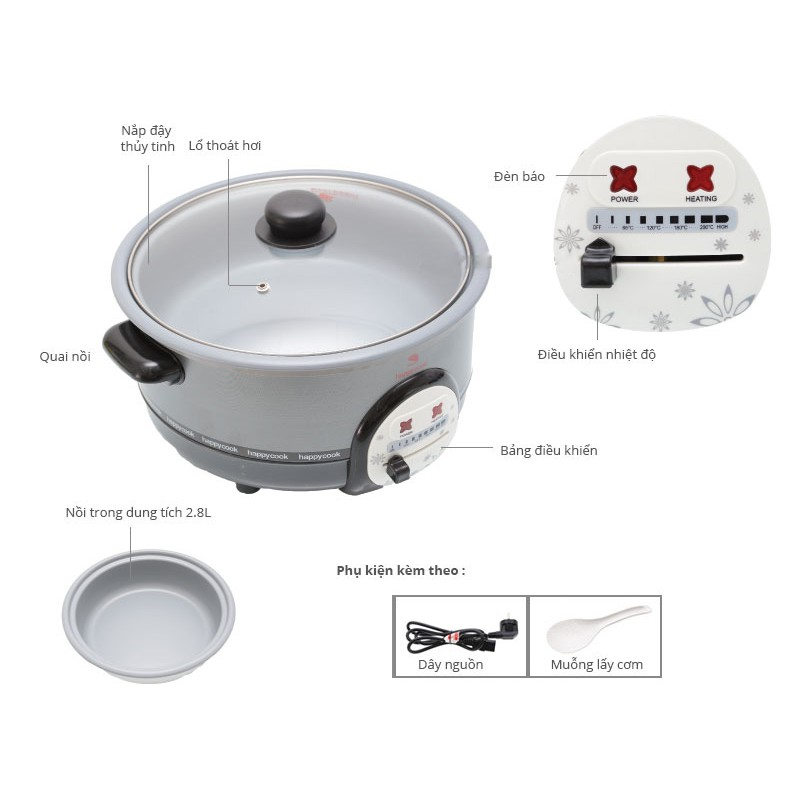 Nổi lẩu điện Happy Cook 3L HCHP-300A