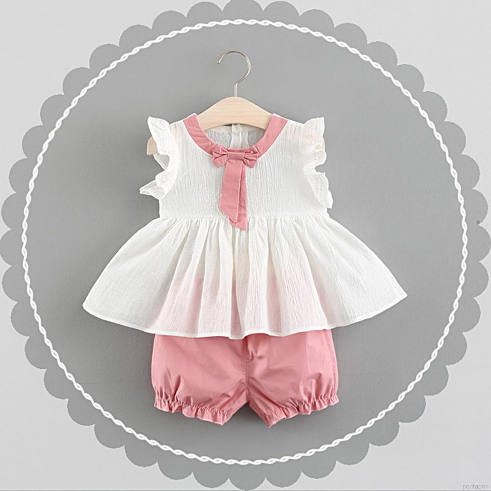 Summer Children Baby Girls Casual Flare Sleeve Tops T-shirt+Shorts Suits Clothes  Set