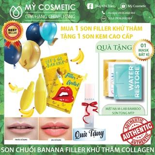 Son , Son filler Khử Thâm Collagen Son Chuối Banana fliller Lipstick Tặng 01 Son Kem Siêu Lì P.A.R.E.A thumbnail
