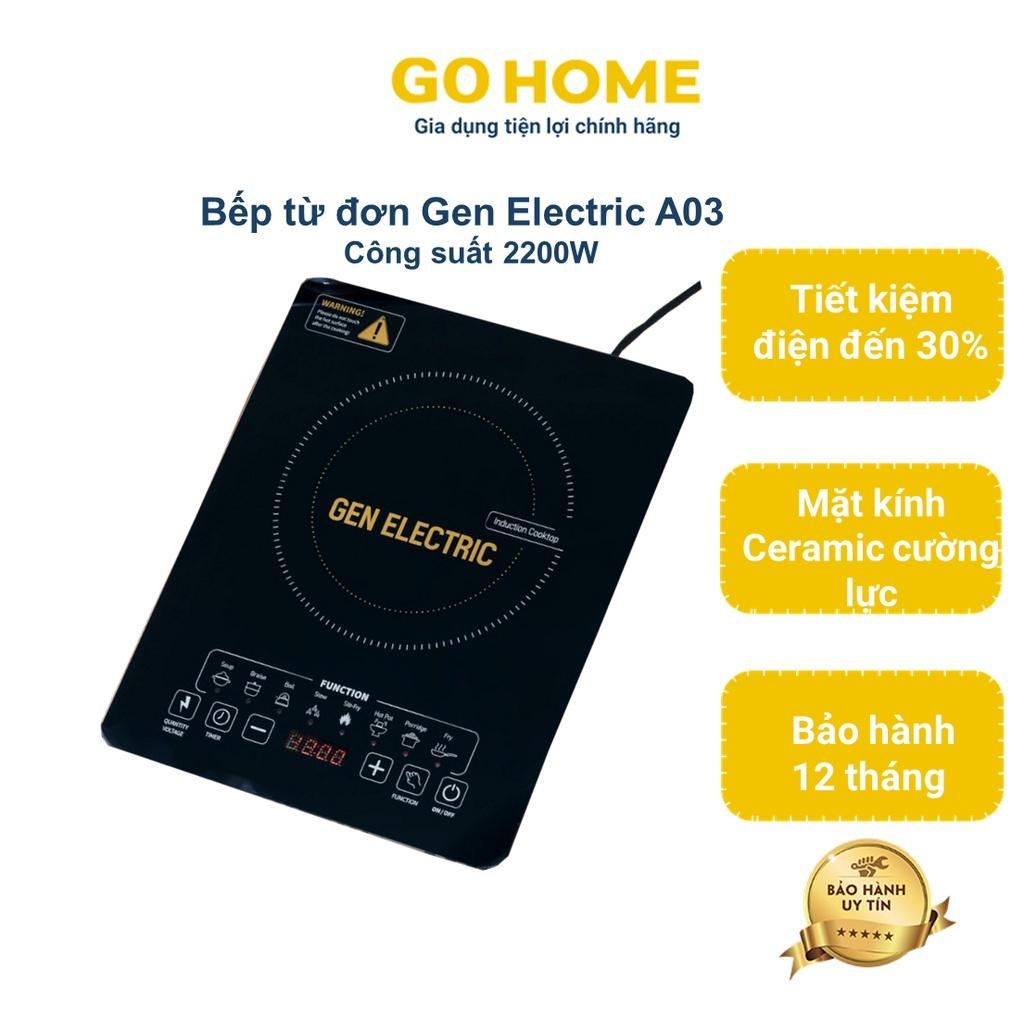 Bếp từ, Bếp từ đơn Gen Electric GE-A03, Mặt kính Ceramic chịu lực,chịu nhiệt, Công suất 2200W.