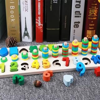 Bộ đồ chơi tổng hợp ghép chữ số , bộ đếm, hình khối và màu sắc