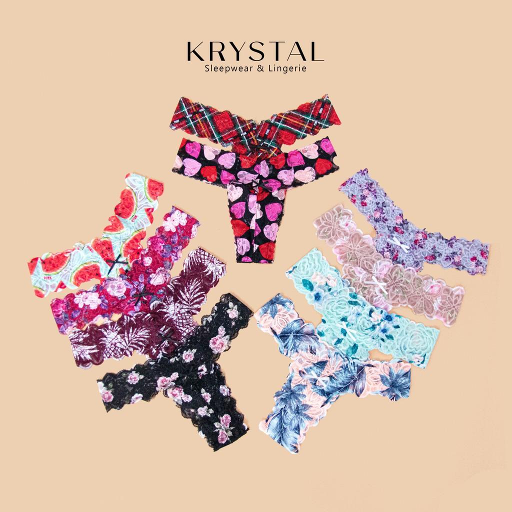 Quần lót ren lọt khe chữ T sexy gợi cảm màu họa tiết KRYSTAL KQT01