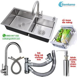 Chậu rửa chén đúc liền khối SENTANO 82x45cm 2 hộc lệch inox sus304 – Bồn rửa chén 2 ngăn