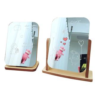 Gương đế gỗ – xoay không viền phong cách Hàn Quốc xinh xẵn, để bàn trang điểm