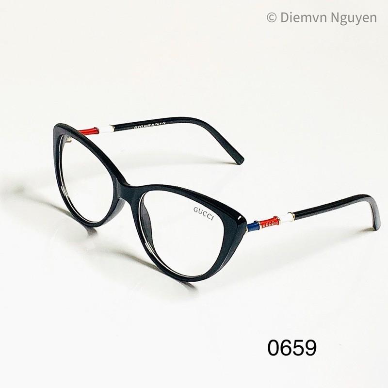 0659 Gọng kính cận mắt mèo thời trang ôm mặt hoạ tiết đẹp cho nữ