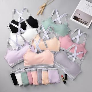 Bộ Đồ Lót Cotton Tăm Đệm Mỏng Viền Chữ Trẻ Trung Cá Tính (HY60) thumbnail