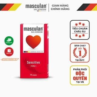 Bao cao su cho da nhạy cảm Masculan Sensitive - Bề mặt thiết kế mềm mại - Cho cảm giác êm dịu nhẹ nhàng - Hộp 10 Bao thumbnail