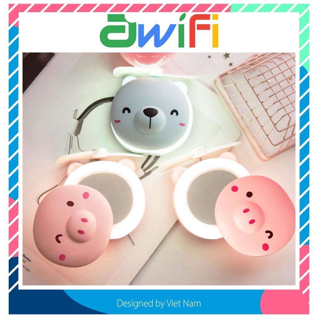 Quạt mini tích điện - Quạt hình heo và gấu kèm gương,đèn Awifi Case L4-2