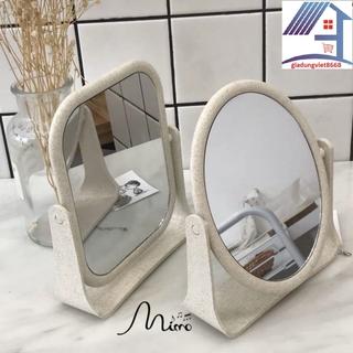 Gương Trang Điểm [ BH LỖI 1 ĐỔI 1 DO NSX ] Gương để bàn  trang điểm để bàn lúa mạch 2 mặt gương xoay 360 độ hàng cao cấp