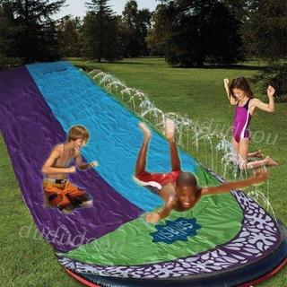 DO❤ Outdoor Dual Racing Backyard PVC Water Slide Summer Surfboard Funny Splash Pool