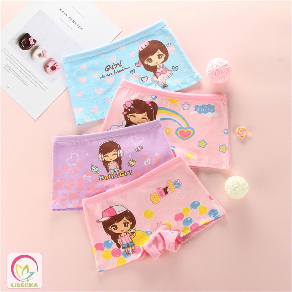 Quần chíp quần lót dễ thương Cotton thiên nhiên cho em bé gái QLTE01
