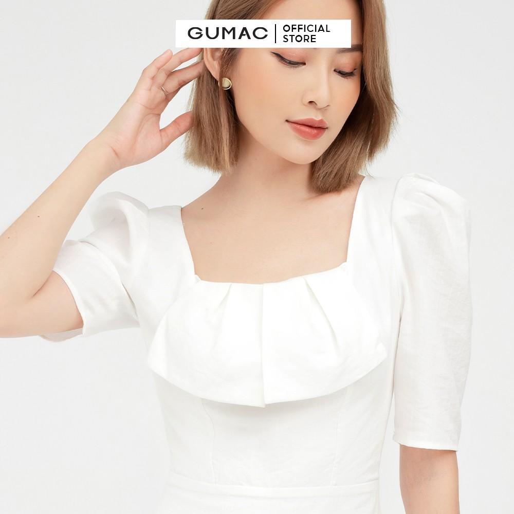 Mặc gì đẹp: Đúng gu với Đầm xòe nữ cổ vuông dập ly GUMAC màu trắng tay lỡ dự tiệc DB501