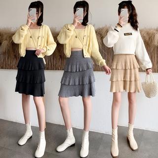 Fall/Winter 2020 New Ladies Knitted Skirt Women's High Waist Pleated Skirt A-shaped Cake Skirt Slimming Dishevelled Skirt