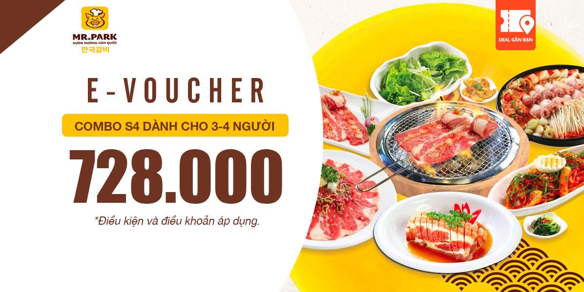 E-Voucher combo S4 dành cho 3-4 người Mr.Park 728,000