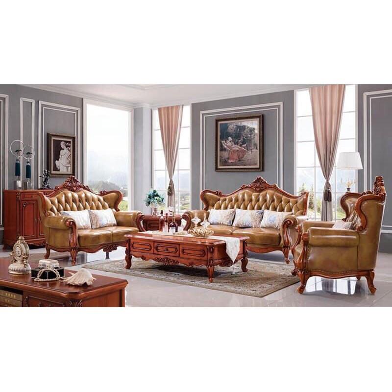 Sofa da bò cổ điển cao cấp phòng khách tại HCM SF-