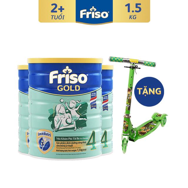 [Tặng Xe Trượt Chớp Đèn] Combo 3 Lon Sữa Bột Friso Gold 4 (1500g/Lon)
