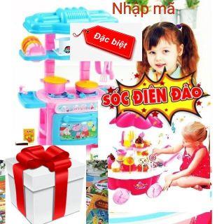Miễn phí vận chuyển combo đồ chơi nhà bếp mini và xe kem 39 chi tiết to có nhạc đèn( tặng 3 quyển tô +màu 3 hộp màu)