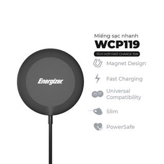 Miếng sạc Energizer MagPAD 15W kèm cáp TypeC WCP119 - Thiết kế từ tính, siêu mỏng, sạc nhanh - Hàng chính hãng
