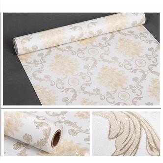 5m giấy dán tường châu âu kem