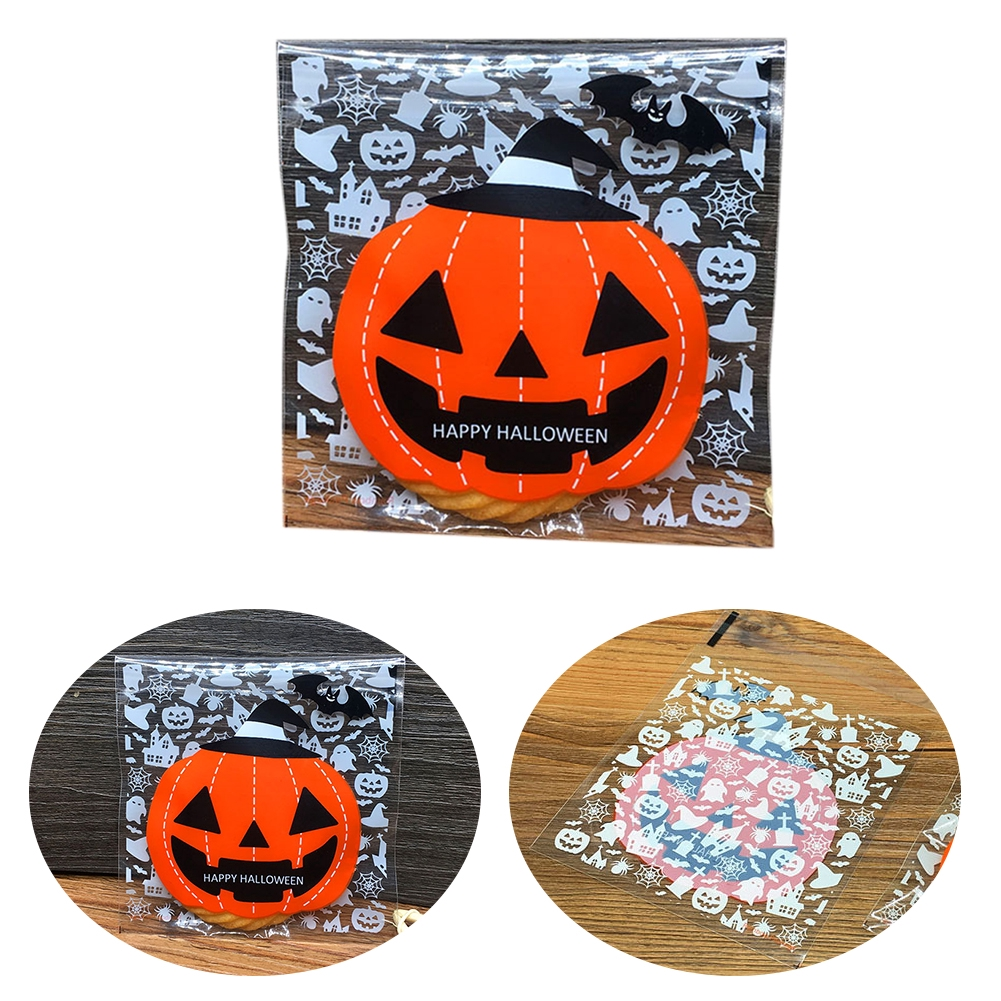 100Pcs/Pack Self Adhesive Small Gifts Cute Cookies Party Decoration Candy Pumpkin Ghost Halloween Dessert Packaging Bag